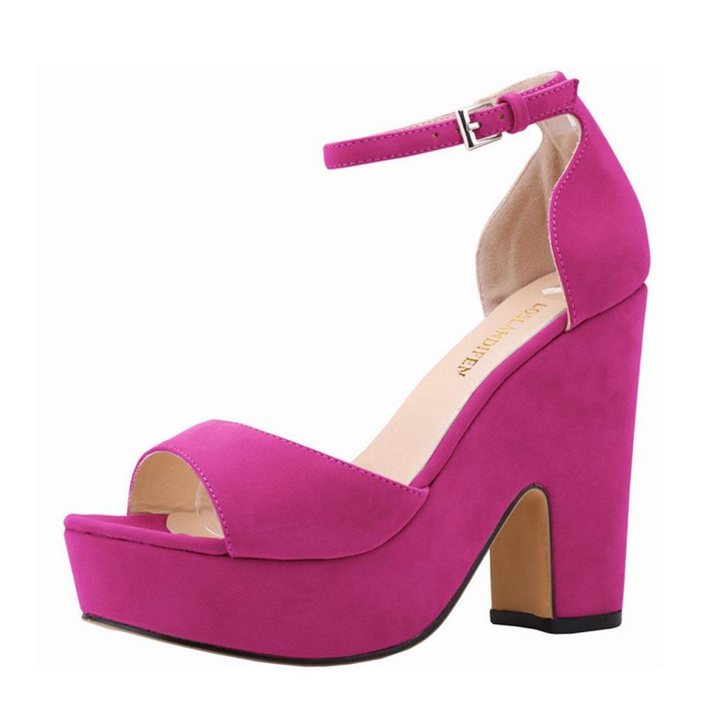 Summer Ankle sandal Strap Women Pumps Sexy Peep Toe Square High Heels Woman Shoes Flock Platform Wedding US