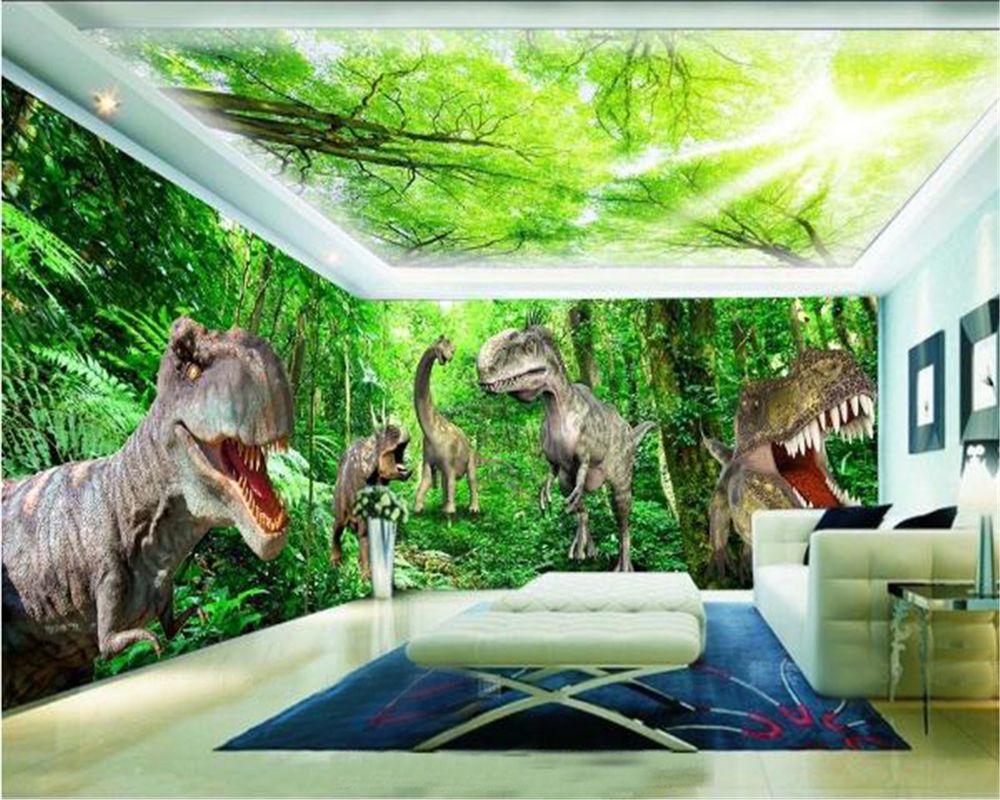 paredes papel de parede 3D Jurassic dinossauro Floresta Primitive Espaço tema de fundo Mural Wallpaper