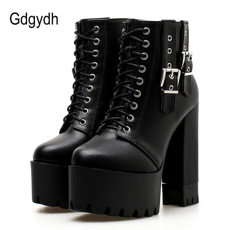 Gdgydh donne allacciatura tacco alto Stivaletti Piattaforma femminile stivali fibbia scarpe punta rotonda signore Party Shoes suola di gomma Promozione T200425