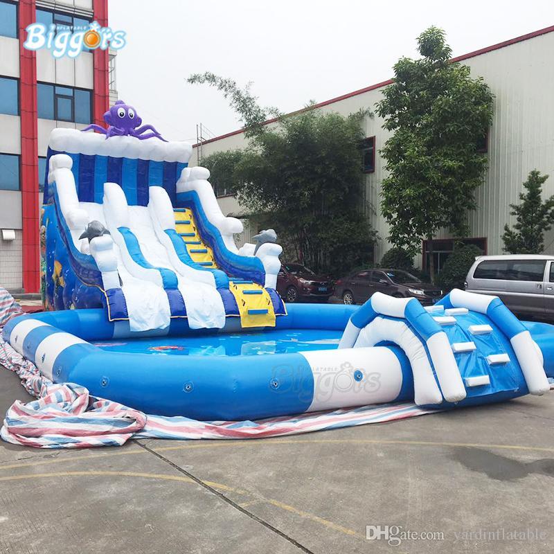 Jarda PVC Uso ao ar livre Venda quente Gigante Inflável Inflável Parque Água Piscina Slide com sopradores