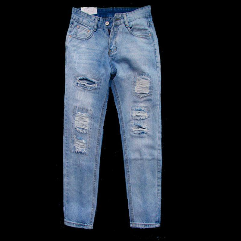 Compre Moda Europa Y America Pantalones Vaqueros Para Mujer Pantalones Vaqueros Rasgados Con Agujero Para Mujer Pantalones Casuales De Mezclilla Para Mujer Azul A 12 35 Del Cardigun Dhgate Com