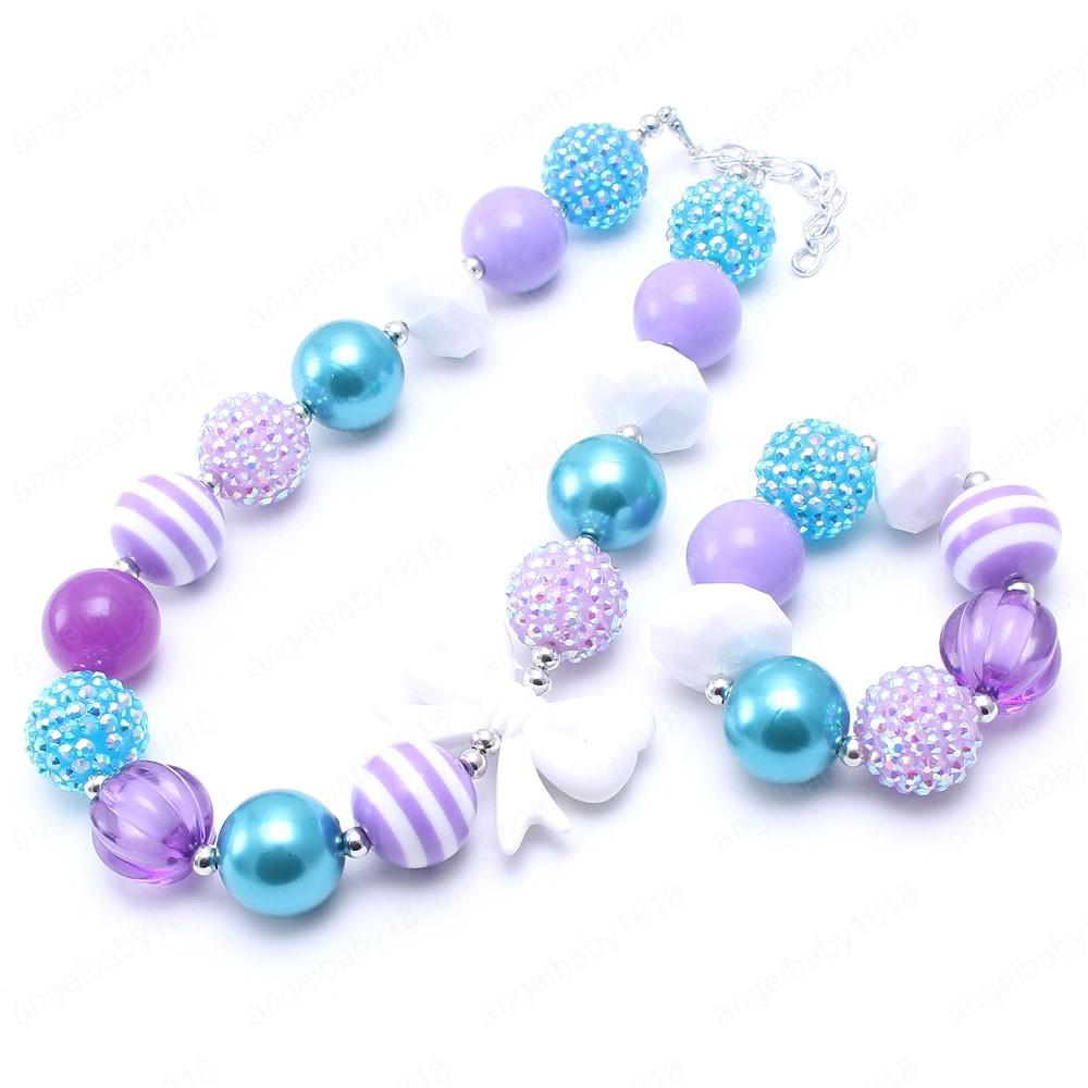 Mädchen Chunky Perlen Halskette Armbänder mit nettem Bogen heißen Verkauf-Kinder Kleinkind Bubblegum Chunky Schmuck-Set für Baby-Geschenke