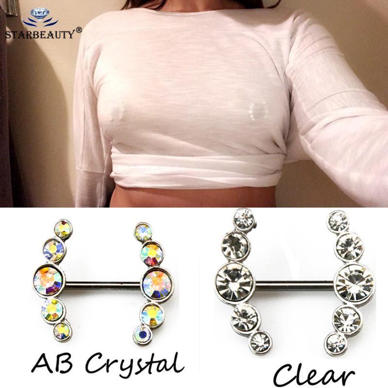 2pcs Sexy claro colorido cristal de amor cuelga el piercing en el pezón Shields Barras piercing del pezón para la Mujer Cuerpo