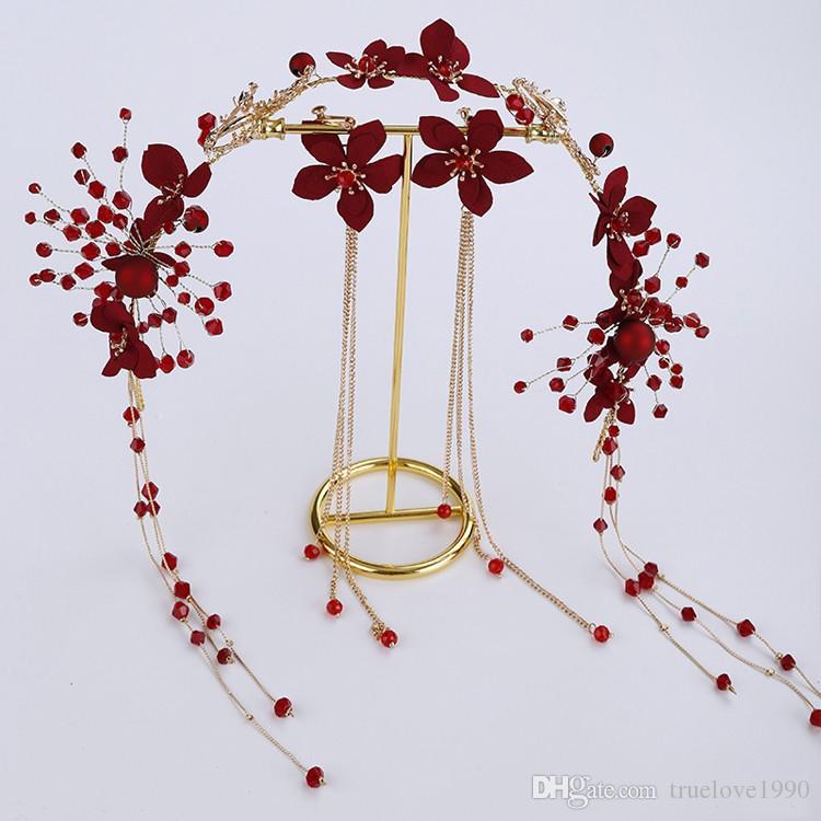 Shinning Handmade Princess Red Beads Copricapo da sposa Copricapo da sposa Copricapo da sposa Accessori da sposa T308819