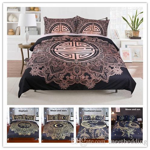 Têxtil de casa conjunto de cama com banhado a ouro único duplo King Size Quilt Cover Set 2 / 3pcs com fronha estilo chinês conjunto de cama
