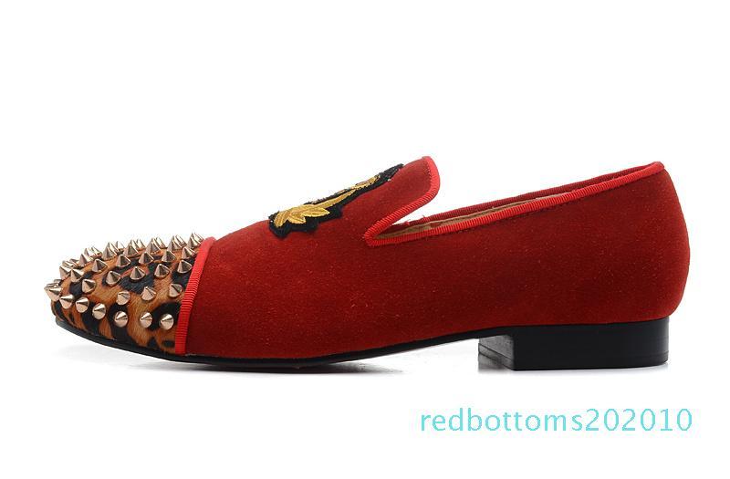 Marka Kırmızı Alt loafer'lar Lüks Parti Düğün Ayakkabı Tasarımcısı SİYAH SÜET Nakış Dikenler Çivili daireler mens için elbise olmak üzere R10 womens