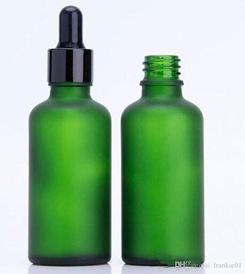 50 ml de aceite esencial cosmético perfume e botella de vidrio líquido botella de gotero de vidrio verde esmerilado con gotero pipeta de plata y oro negro