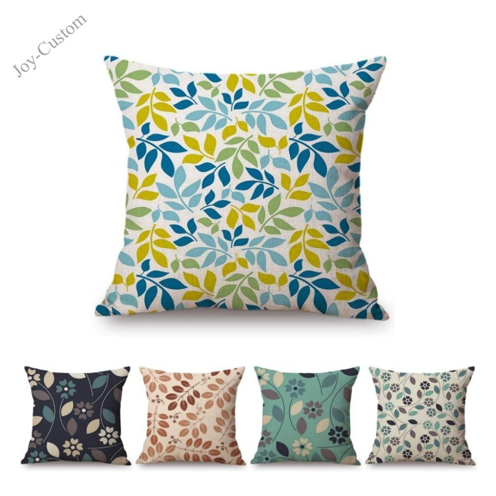 Geometric Leaves Autumn Harvest Celebration Sofa Cushion Case Outdoor Bench Chair Throw Pillow Cover Scandinavian Capa Almofada