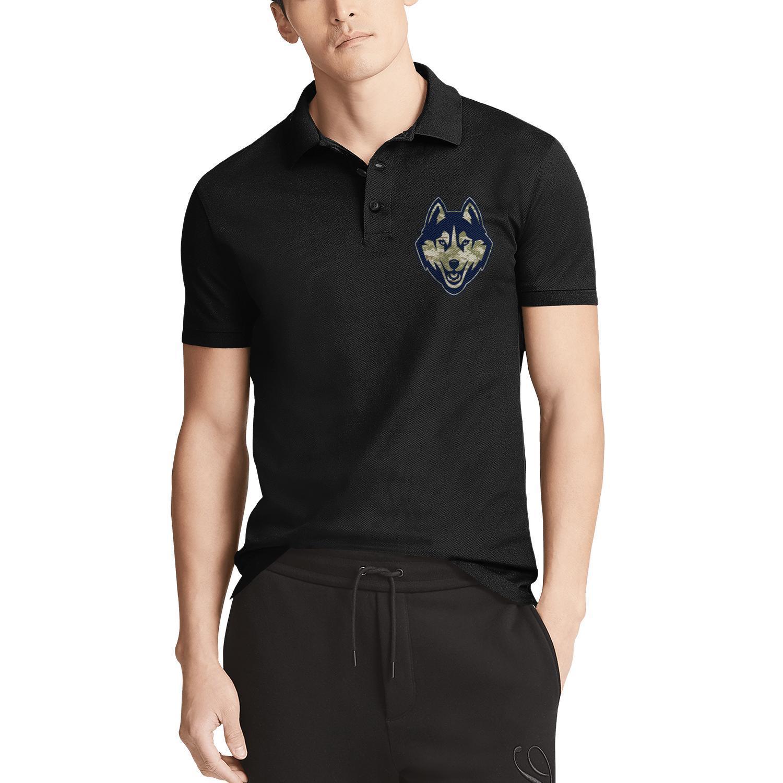 Mens Design Printing UConn Huskies баскетбол камуфляж логотип черный хлопок рубашка поло ретро забавный чемпион гей-радуга золотой розовый