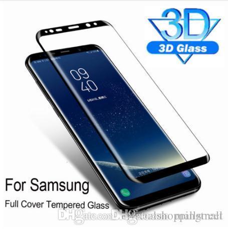 Protecteur d'écran trempé complet 3D pour Samsung Galaxy S10 S10 Plus Protection de film en verre trempé Cristal S10e S9 S9 Plus Note 8 Verre