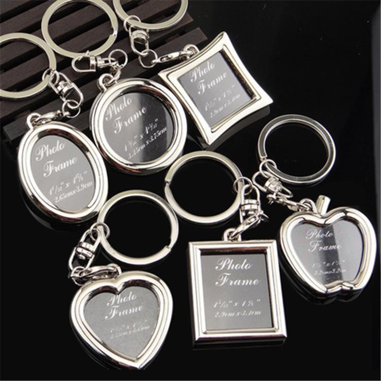 6 styles Photo Frame Round Heart Apple Oval Rhombus Shape Metal Keychain Key Chain Keyring Car Keychains Couples Keyring Gift BFJ641