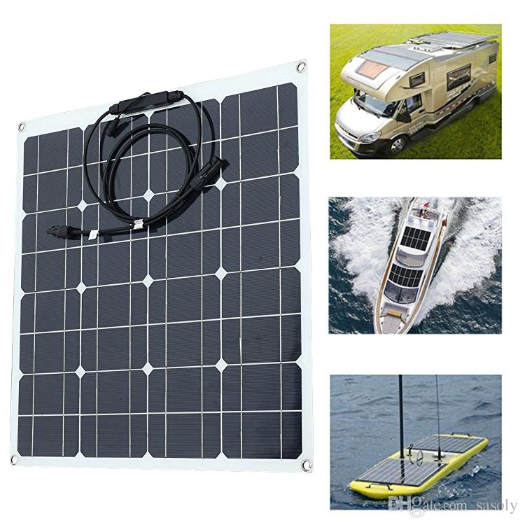 50W Watt 18V Extremely Flexible Monocrystalline Solar Panel Charge Battery Clips for Boat Car Power Supply USB