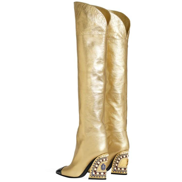 L'oro Wedge Boots Donna Autunno Inverno occidentale Stivali da cowboy diamante delle donne tacco alto scarpe di cristallo Oro Scarpe a punta