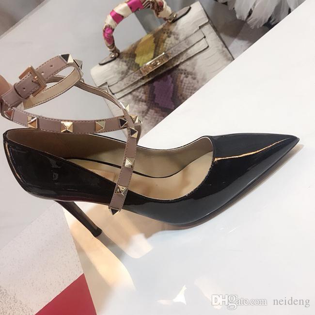 Las mujeres calientes de la venta-Designer tacones altos de la moda partido remaches chicas sexy zapatos de punta de baile zapatos de boda correas del tobillo de las sandalias de las mujeres del perno prisionero de las sandalias