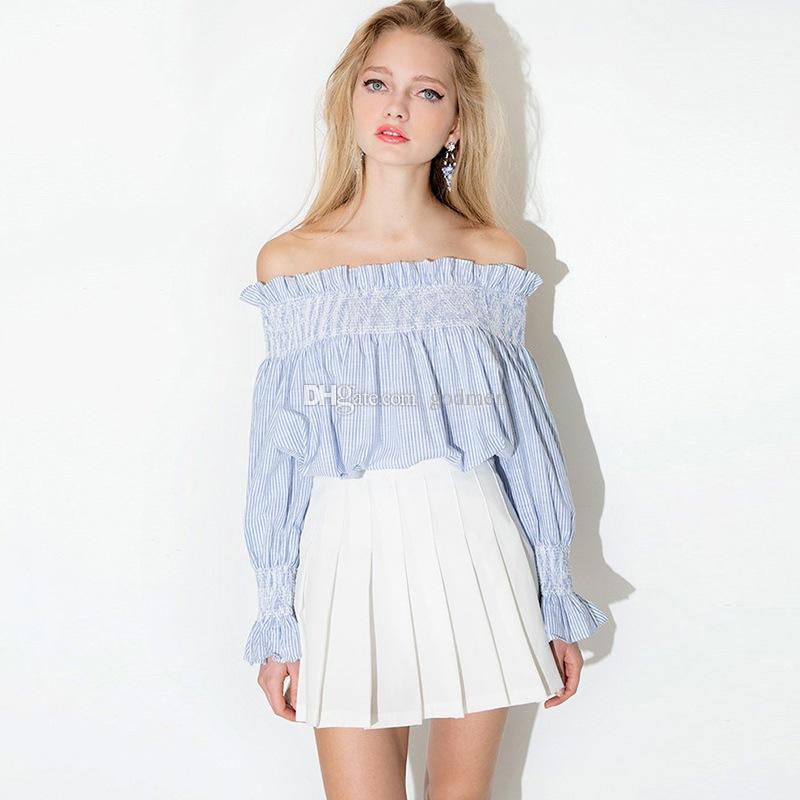 Europa y los Estados Unidos Viento frío Chica Hombro sin tirantes Camisa de muñeca a rayas Camisa de manga larga