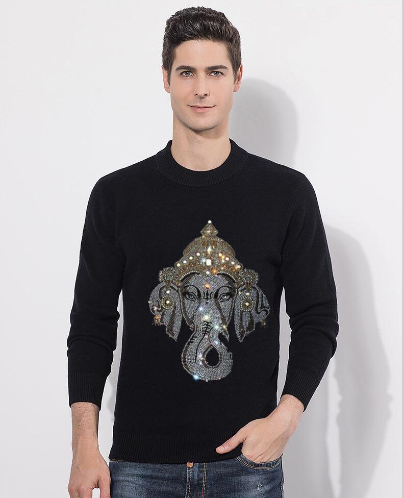 Nova marca de moda O-Neck Sweater Para Mens Pullovers diamante pedra Slim Fit Jumpers Knit Outono Estilo coreano Roupa Homens