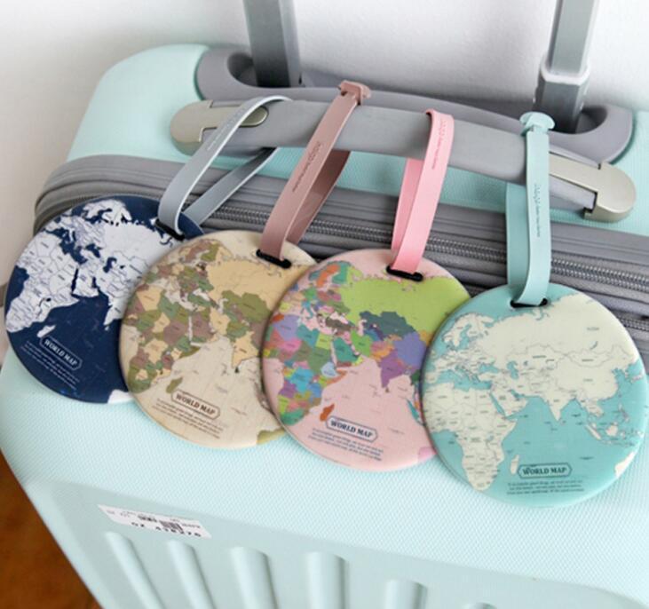 Étiquette de bagage mondial Carte silice ID Valise Adresse Porte-bagages Identifier Boarding Tags Accessoires de voyage Portable