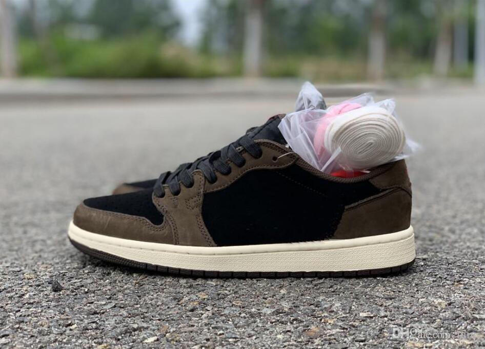 2019 Nouvelle version Brun Travis 1 BAS OG TS SP Moka Hommes Cactus Jack Dark Scotts Chaussures de basket Sport Sneaker 40-46