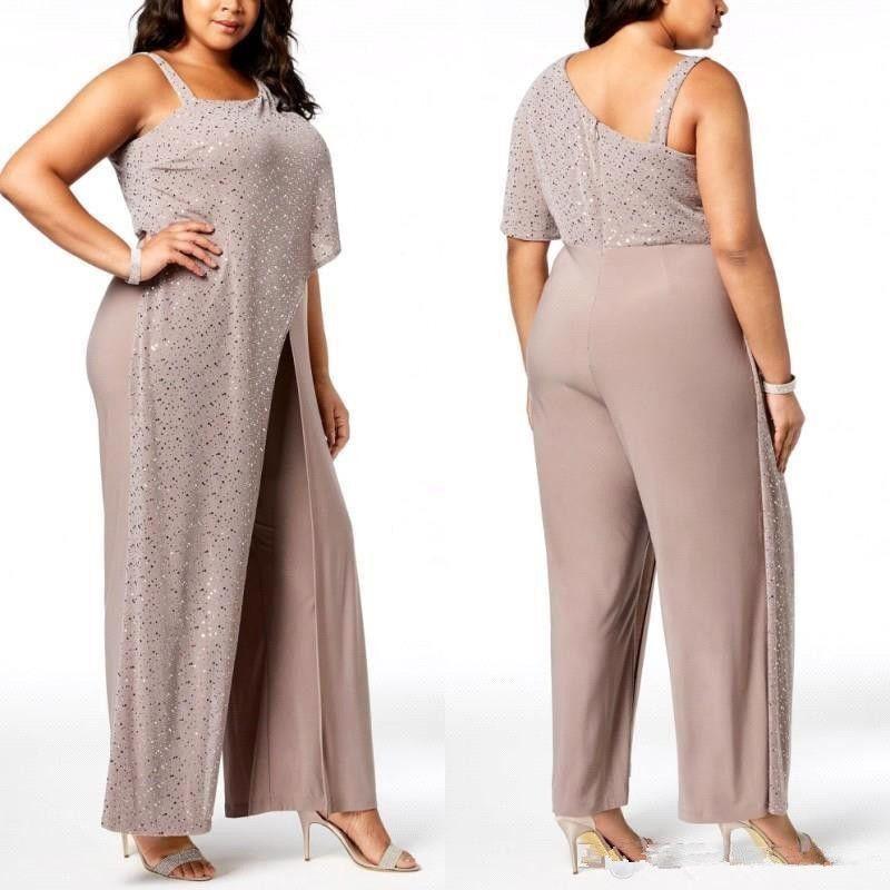 Arábicos um ombro Lantejoulas drapejado Macacão Vestidos 2020 Calças Chiffon longas Plus Size formal do partido Mother Of The Bride Dress BC0270