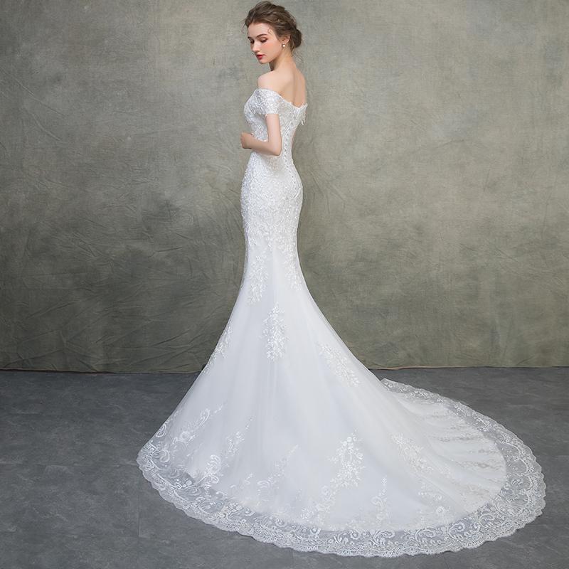 Fishtail wedding dress new long tail Korean wedding dress for brides