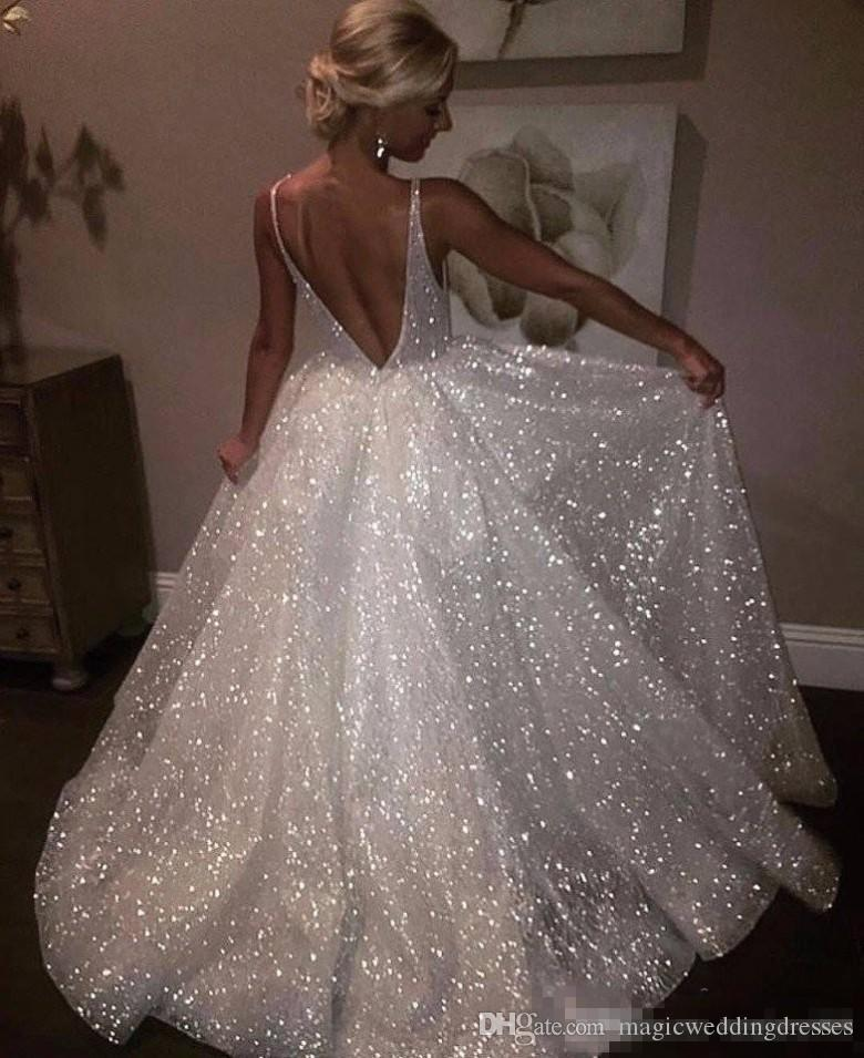 White Sparkle Sequins Evening Dresses Deep V Neck Sexy Long Prom Dress Cheap Pageant Party Gowns Special Occasion Wear