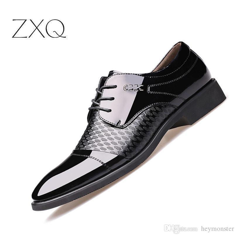 Yeni erkek Ayakkabıları Yüksek Kaliteli Ayakkabı Deri Resmi Dans Mens İpucu Kafa Parlak Deri Örgü Iş Deri Ayakkabı