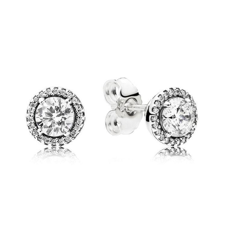 Design classique Rond CZ Diamant Stud BOUCLES D'OREILLES boîte d'origine pour Pandora 925 Sterling Silver Earrings Accessoires de mode