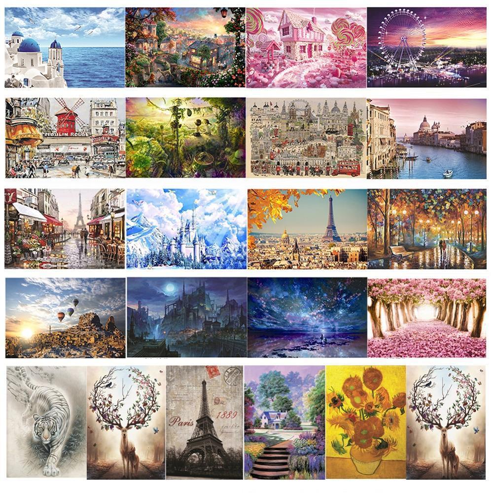 Горячей! Jigsaw Puzzles 1000 шт. Деревянная сборка картины Пейзаж Пазлы игрушки для взрослых детей Детские игры Развивающие игрушки