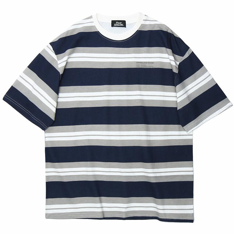 Januarysnow Männer Hip-Hop-T-Shirt-Streetwear Harjuku Stripe T-SHIRT Baumwolle Sommer Kurzarm-T-Shirt, Freizeitmode, Tops, Tees, Blau, Weiß
