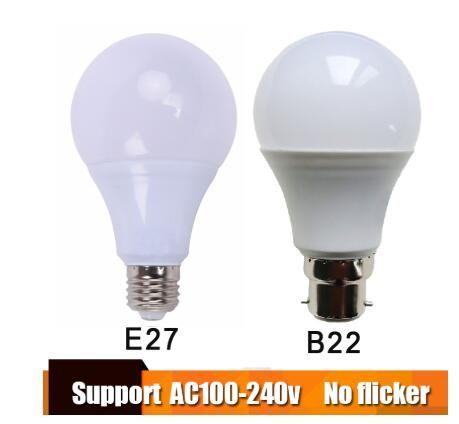 실제 전원 E27 LED 전구 Lampada 앰플 Bombilla 3W 5W 7W 9W B22 LED 램프 220V 찬 / 백색 LED 스포트 라이트를 따뜻하게