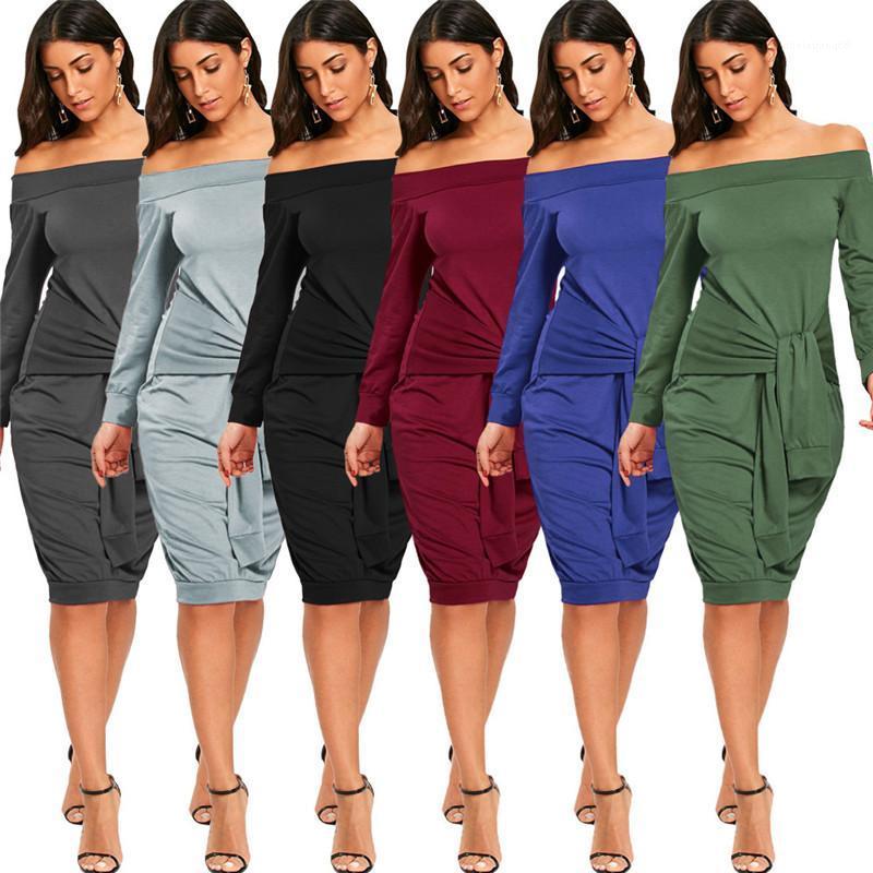 Дизайнер платья весна Сыпучие с длинным рукавом Дамы повседневные платья Сплошной цвет Женский Одежда Slash шейных женщин