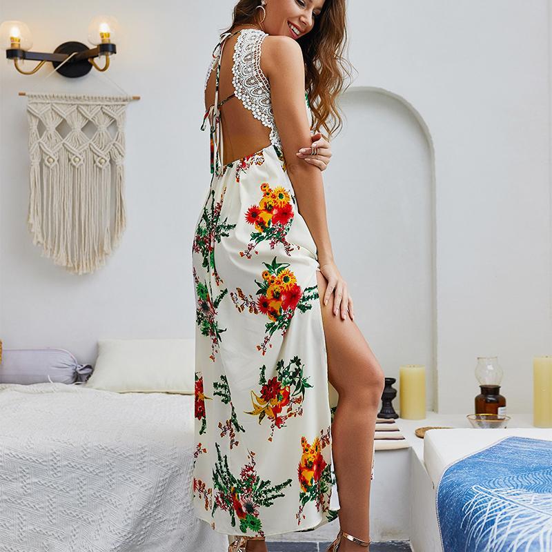 Summer Sexy печати Сплит кружева шить пляжный Boho платье Robe Femme 2019 женщин vestidos ремень длинные макси платье женские платья