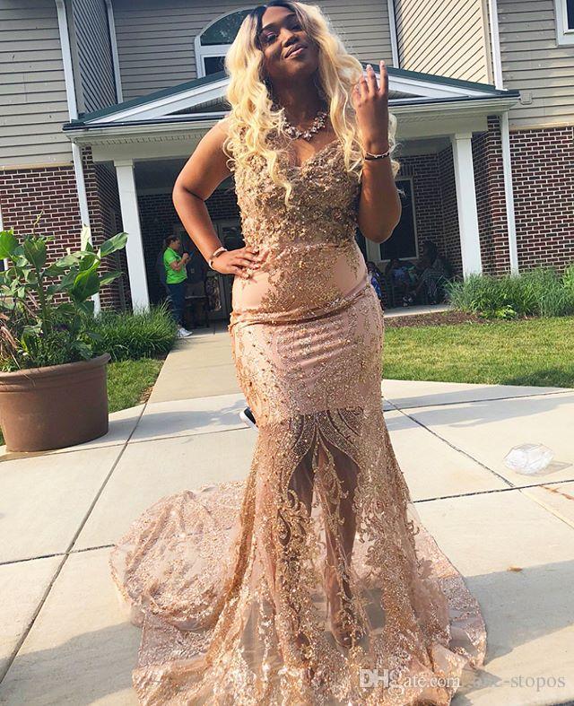 Blush rosa Sereia Prom Vestidos 2019 da menina Preto Vestidos Pageant Sexy ouro Appliqued formal do partido vestido africanos