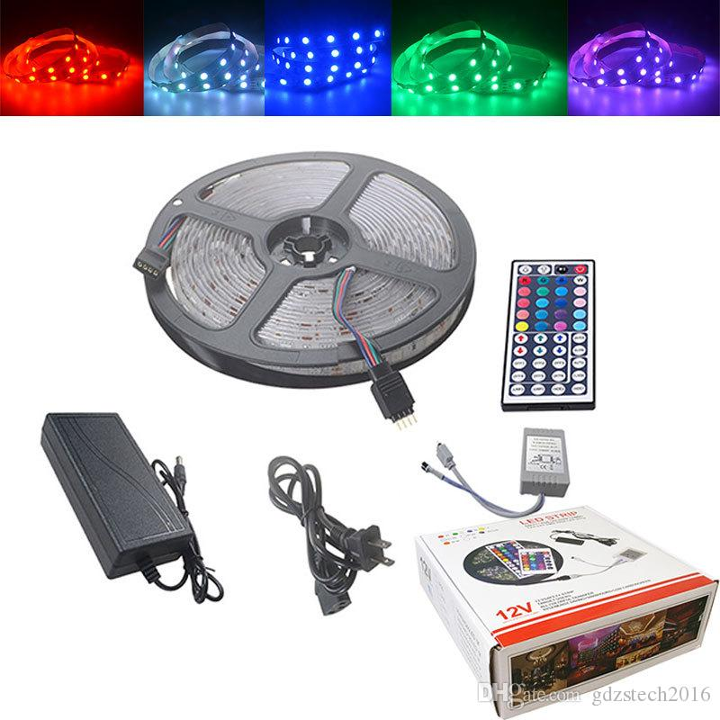 LED 스트립 12V 리본 LED 라이트 스트립 RGB 테이프 SMD 5050 TV 용 원격 백라이트가있는 유연한 5m 10m 다이오드 테이프