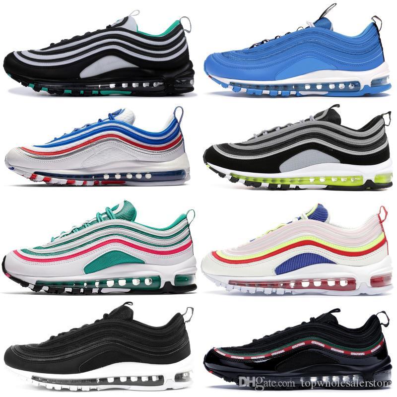 1997'ler Erkek Koşu Ayakkabıları Yastık Erkekler Kadınlar Yansıta Gümüş Sıvı Metalik Gümüş Beyaz Moda OG Spor Atletik Eğitmenler Sneakers