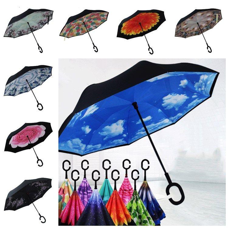 Creativo invertito pieghevole Reverse Umbrella doppio strato antivento invertito Pioggia auto Ombrelli con C UmbrellasT2I5720 Maniglia