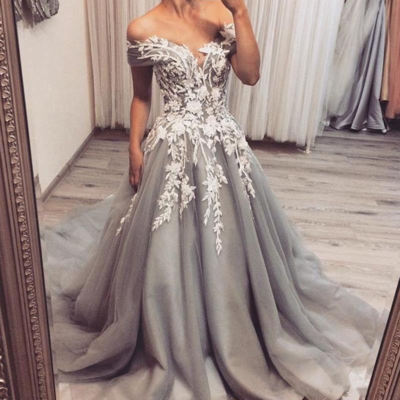 Grigio argento abiti da sposa d'epoca al largo della spalla Lace Appliques Tulle A Abiti da sposa Linea sweep treno abito da sposa su misura