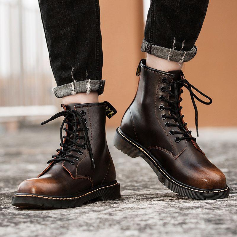 Sıcak Satış-rcycle Boots Erkek Kadın Deri Martins ayakkabı erkekler Kadınlar Sonbahar Kış Sty