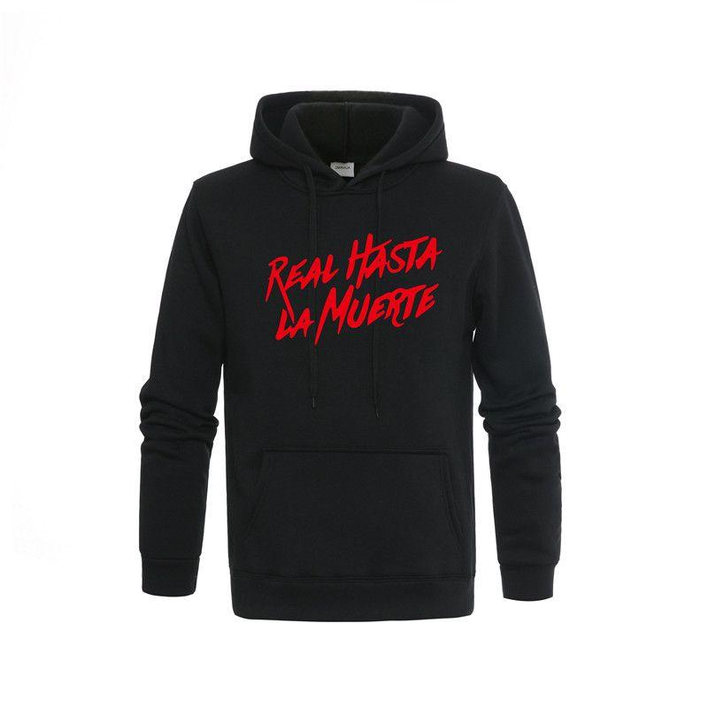 2019 Real Hasta La Muerte Hoodies Das Mulheres Dos Homens Unisex Moletom Com Capuz de Lã Branco Vermelho Carta Impressão Streetwear Roupas M-2XL