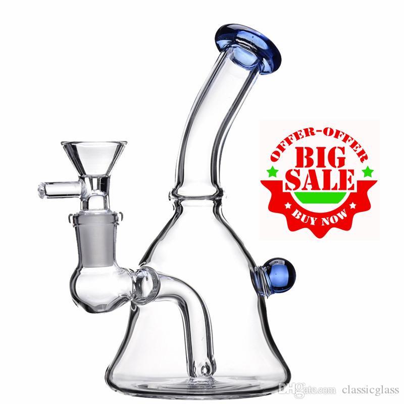"""6"""" verre Beaker Bong Water Pipe avec bol en verre épais verre Bongs Femme Joint barboteur Water Pipe Oil Rig"""