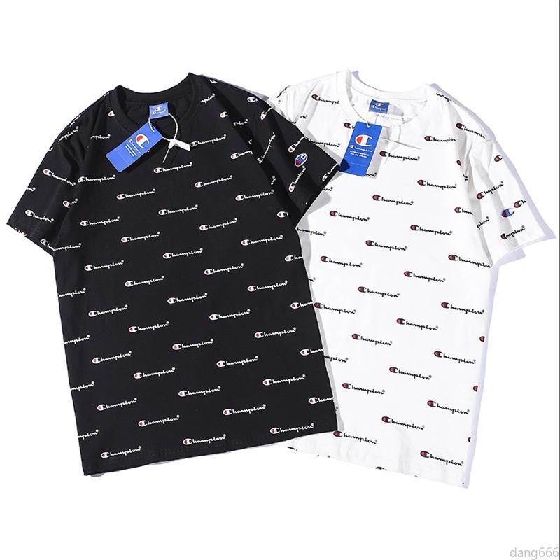 Champion Print Mens T-Shirt White Cotton Designer Fashion Short Sleeve Top