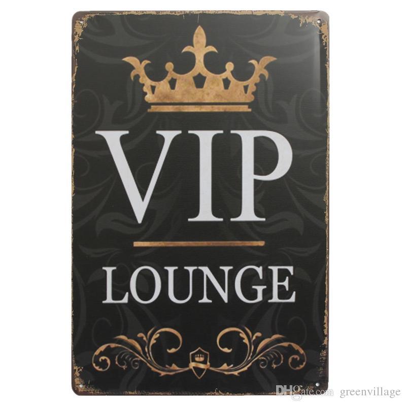 Großhandel 20x30 Cm Goldene Krone Vip Lounge Banner Blechschilder Vintage Metall Poster Bar Pub Home Wand Dekorative Plaques Von Greenvillage 402