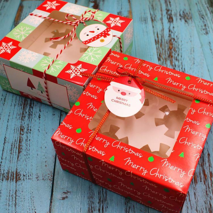 1 pièces boîte de gâteau de Noël 4 tasses boîte d'emballage de gâteau de petit gâteau fenêtre ouverte
