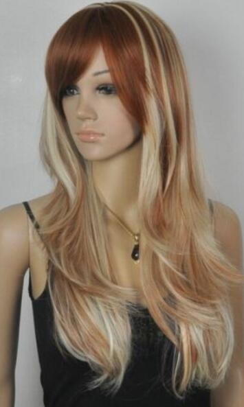 FREE SHIPPING + + New Fashion Elegant golden mixed brown long women's synthetic full wig