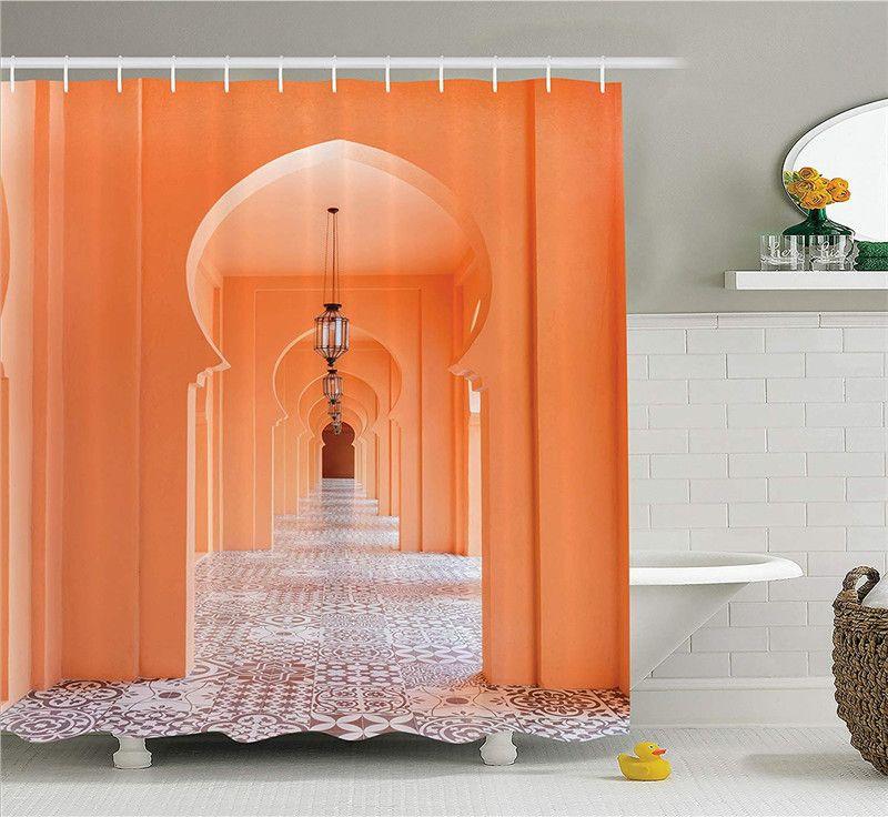 Cortina de ducha árabe Paseo marroquí con motivos asiáticos y elementos artísticos árabes Visual Oriental Foto Tela Juego de decoración de baño
