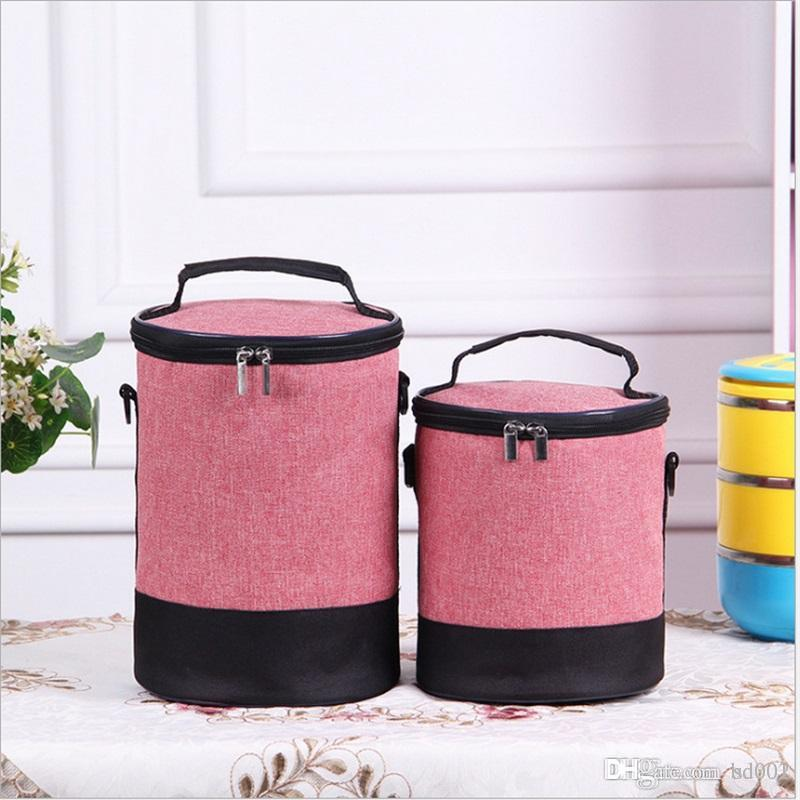 Frosted Cloth Lunch Box Bag Heat Insulation Collapsible Wrap Cylinder High Capacity Package Portable Keep Warm Handbag Zipper 7 2emE1