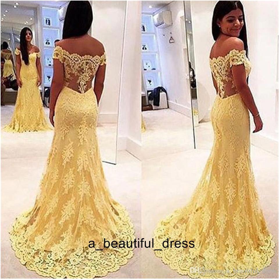 Giallo sirena del merletto Prom Dress Abiti spalle Appliques del merletto abiti di sera delle donne convenzionale di formato ED1230 partito del vestito più