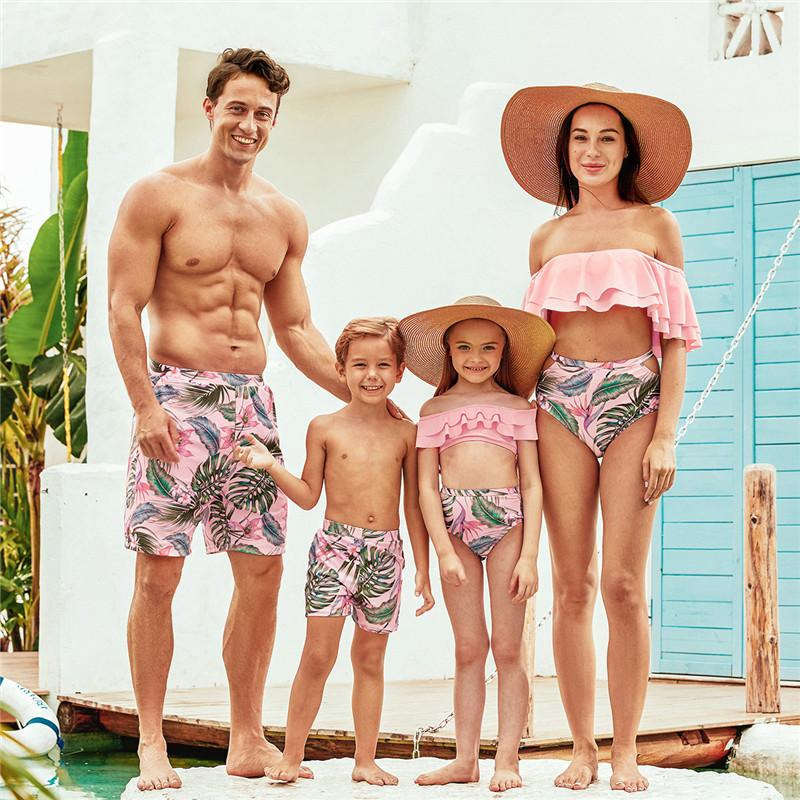 2020 New Summer Flounce Plant Print Matching Family Swimsuits Swimwear Family Look for Women Girls Men Boys