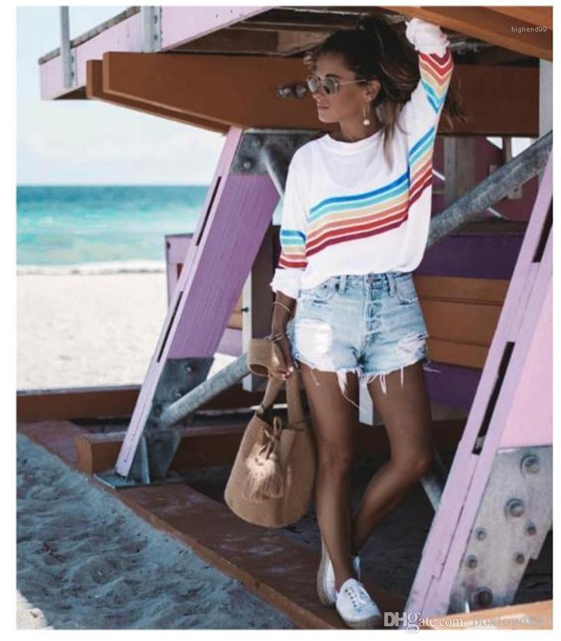 Printed Autumn Casual Slim Long Sleeved Crew Neck Pullover Thin T Shirts Fashion Womens Tees Womens Designer T Shirts Rainbow Stripes