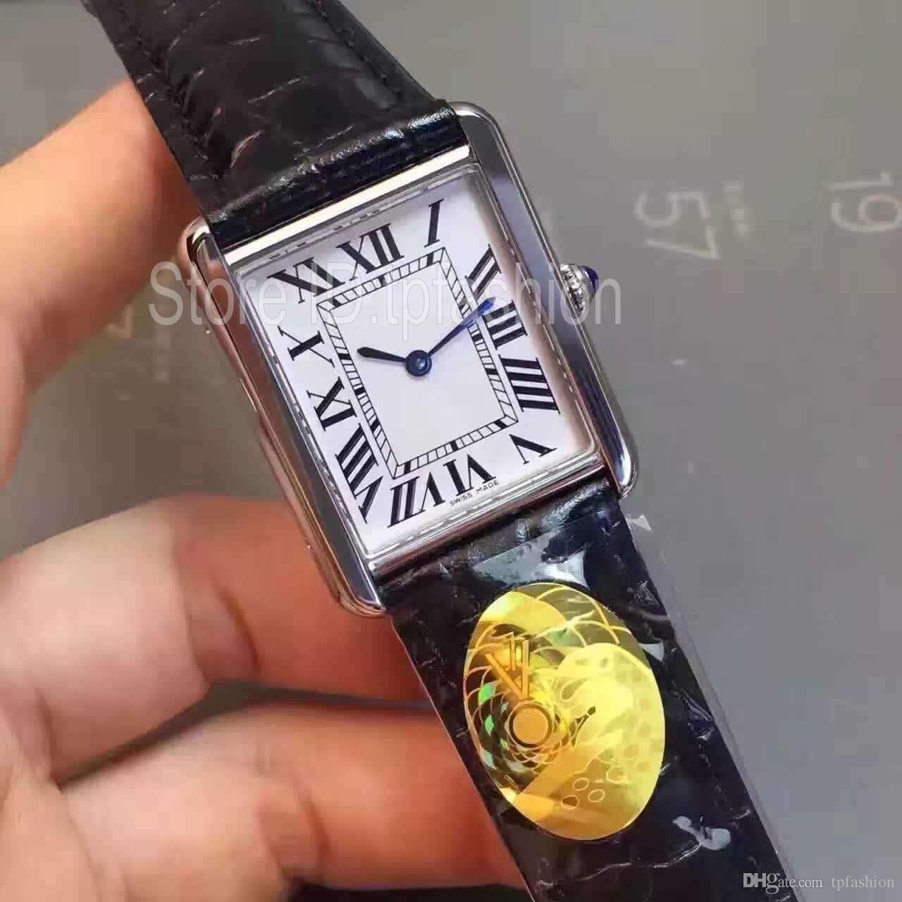 Top qualité Mode Quartz Hommes Femmes cadran argenté classique Rectangle design en verre saphir Bracelet en cuir Casual Horloge 1520